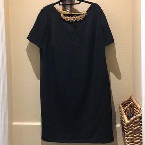 Tahari Black Dress with Gold & Pearl detail